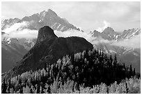 The Lion Head, an oddly shaped  rock formation. Alaska, USA ( black and white)