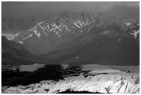 Light shining on Matanuska Glacier. Alaska, USA ( black and white)