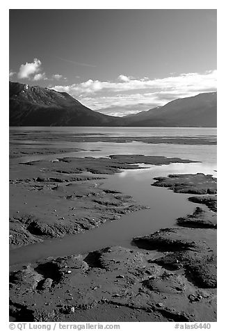 Mud flats, Turnagain Arm. Alaska, USA (black and white)
