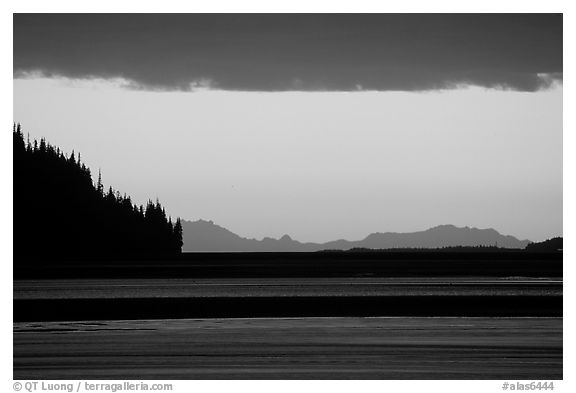 Turnagain Arm at sunset. Alaska, USA (black and white)