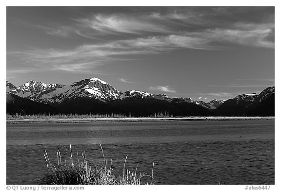 Mountains and Turnagain Arm near Portage. Alaska, USA (black and white)