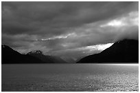 Storm clouds hang over the Turnagain Arm. Alaska, USA ( black and white)