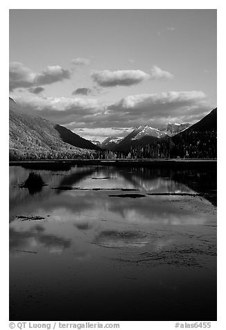 Tern Lake in late afternoon. Alaska, USA (black and white)