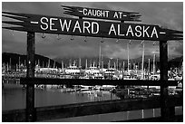 Seward harbor. Seward, Alaska, USA ( black and white)
