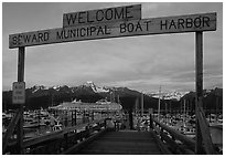 Seward harbor at sunset. Seward, Alaska, USA ( black and white)