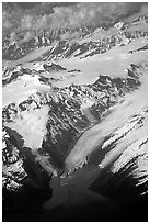 Aerial view of Glaciers and Fjords in Prince William Sound. Prince William Sound, Alaska, USA ( black and white)
