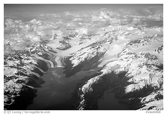 Aerial view of tidewater glaciers in Prince William Sound. Prince William Sound, Alaska, USA