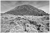 Cinder cone and sage,  Lava Beds National Monument. California, USA ( black and white)