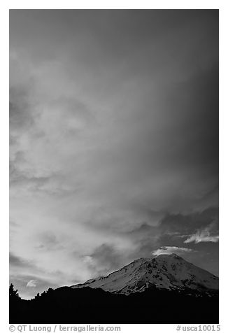 Clouds dramatically colored at sunset above Mt Shasta. California, USA (black and white)