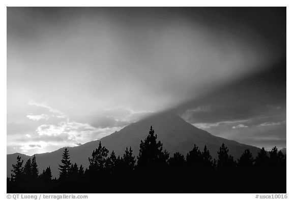 Last sun rays over  Mount Shasta. California, USA (black and white)