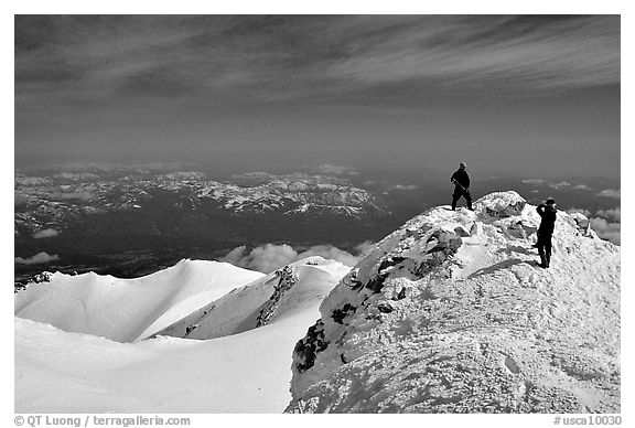 Mountaineers on the summit of Mt Shasta. California, USA (black and white)