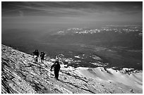 Mountaineers on the slopes of Mt Shasta. California, USA (black and white)