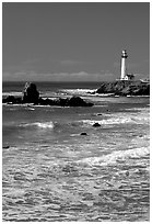 Surf and Pigeon Point Lighthouse, morning. San Mateo County, California, USA ( black and white)