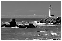 Pigeon Point Lighthouse and rocks, morning. San Mateo County, California, USA (black and white)