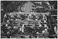Aerial view of campus. Stanford University, California, USA (black and white)