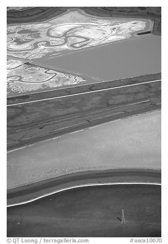 Aerial view of marsh patches. Redwood City,  California, USA (black and white)