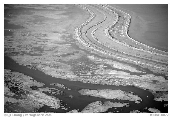Aerial view of wetlands in the South Bay. Redwood City,  California, USA (black and white)