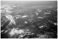 Aerial view of the Sierra Nevada and Mono Lake. California, USA (black and white)