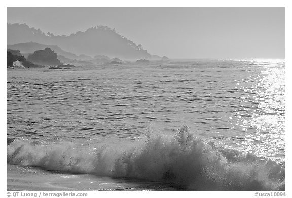 Surf on late afternoon. Carmel-by-the-Sea, California, USA (black and white)