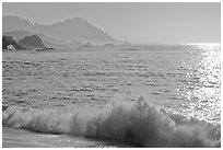 Surf on late afternoon. Carmel-by-the-Sea, California, USA ( black and white)