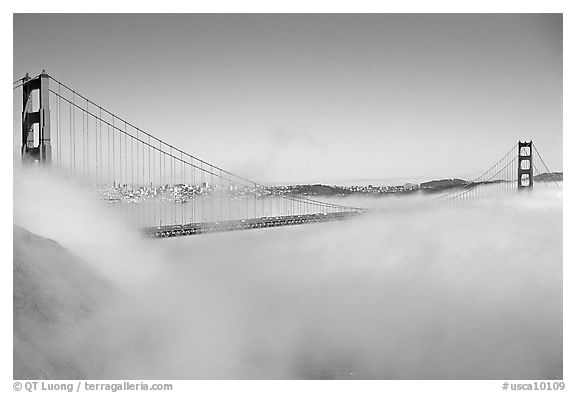 Fog rolls over the Golden Gate. San Francisco, California, USA (black and white)