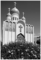 Russian Orthodox Cathedral with a foreground of flowers. San Francisco, California, USA (black and white)
