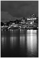 Lights of Ghirardelli Square sign reflected in Aquatic Park. San Francisco, California, USA ( black and white)