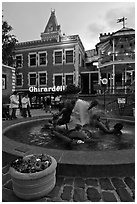 Fountain at dusk, Ghirardelli Square. San Francisco, California, USA ( black and white)