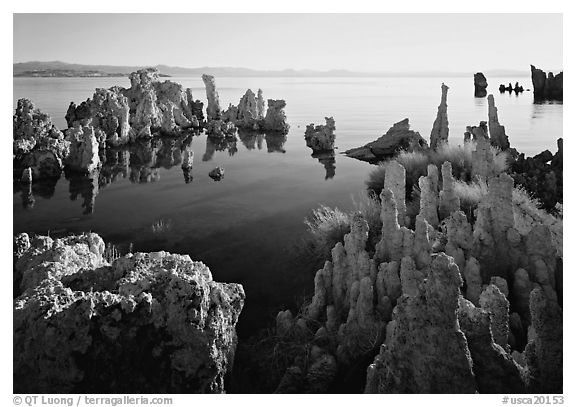 Tufa formations, South Tufa area, early morning. California, USA (black and white)