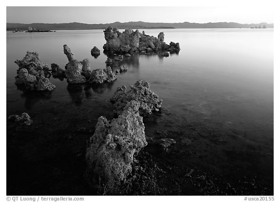 Tufa rock on south shore at sunrise. Mono Lake, California, USA (black and white)