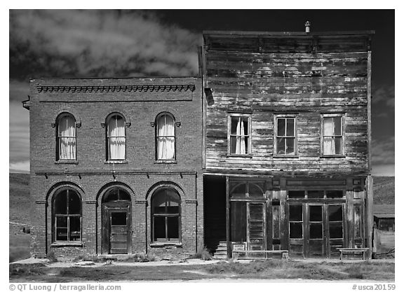 Saloon and Gymnasium, Ghost Town, Bodie State Park. California, USA (black and white)