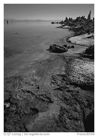 Colorful shore and tufa, mid-day. Mono Lake, California, USA (black and white)