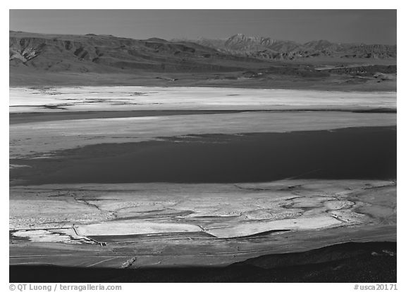 Owens Lake and desert ranges. California, USA (black and white)