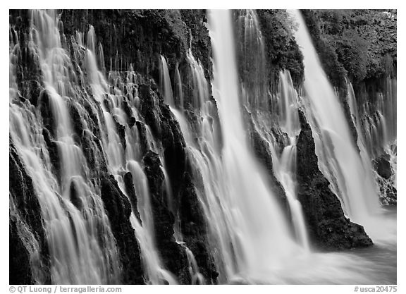 Side view of Burney Falls. California, USA (black and white)