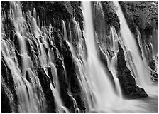 Side view of Burney Falls. California, USA ( black and white)