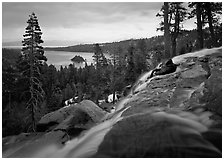 Eagle Falls on a cloudy day, Emerald Bay, California. USA (black and white)