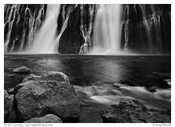 Boulders and waterfall, Burney Falls State Park. California, USA (black and white)