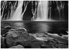 Boulders and waterfall, Burney Falls State Park. California, USA ( black and white)