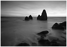 Seastacks and rocks, sunset, Rodeo Beach. California, USA (black and white)