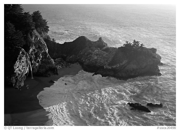 Mc Way Cove and waterfall, late afternoon. Big Sur, California, USA (black and white)