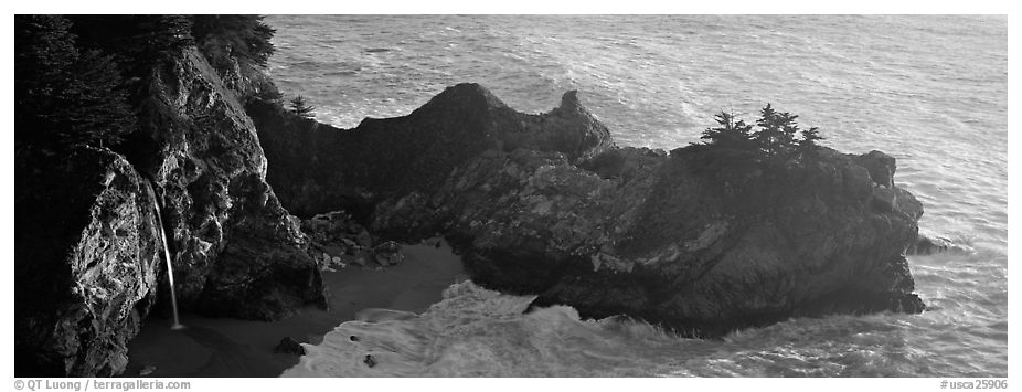 Waterfall and ocean, Mc Way Cove. Big Sur, California, USA (black and white)