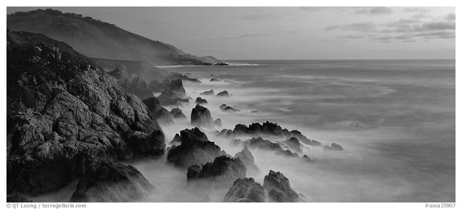 Panoramic Black And White Picture Photo Seascape With