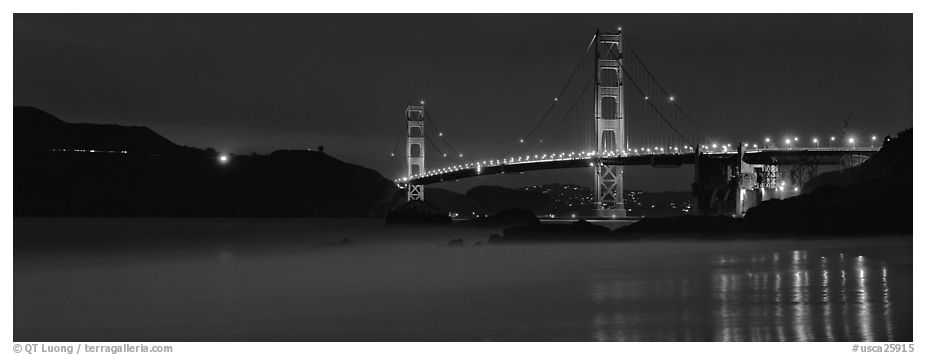 Golden Gate Bridge, blue hour. San Francisco, California, USA (black and white)