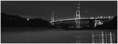 Golden Gate Bridge, blue hour. San Francisco, California, USA (Panoramic black and white)