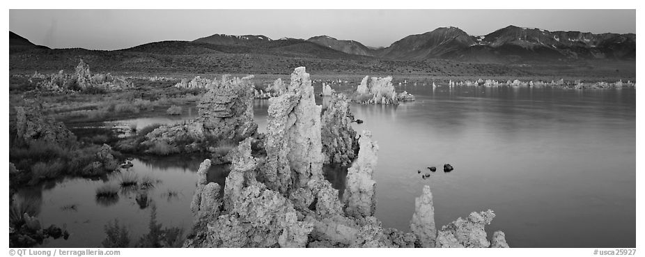 Mono Lake Tufa and Sierra Nevada at dawn. Mono Lake, California, USA (black and white)