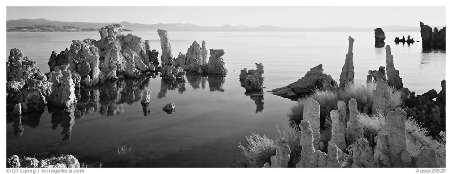 Lake tufa scenery. Mono Lake, California, USA (black and white)