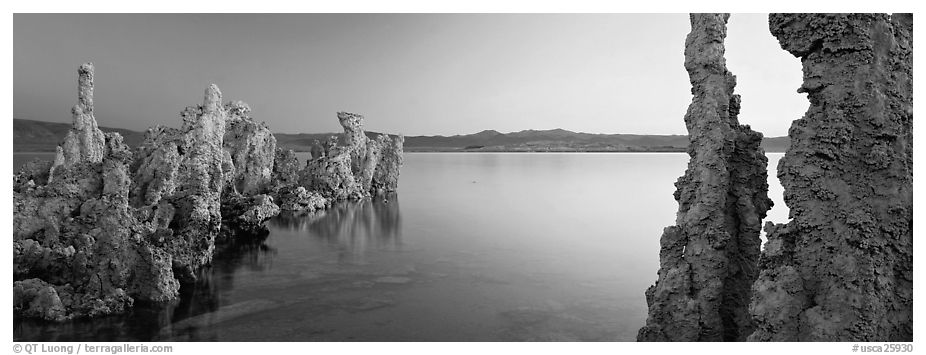 Lake scenery with Tufa towers. Mono Lake, California, USA (black and white)