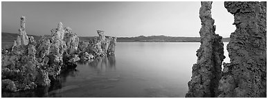 Lake scenery with Tufa towers. Mono Lake, California, USA (Panoramic black and white)