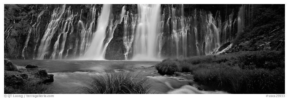 Wide Burney falls. California, USA (black and white)