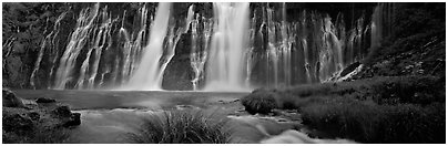 Wide Burney falls. California, USA (Panoramic black and white)